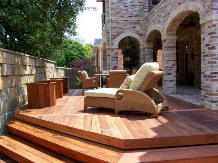 Small space backyard decking