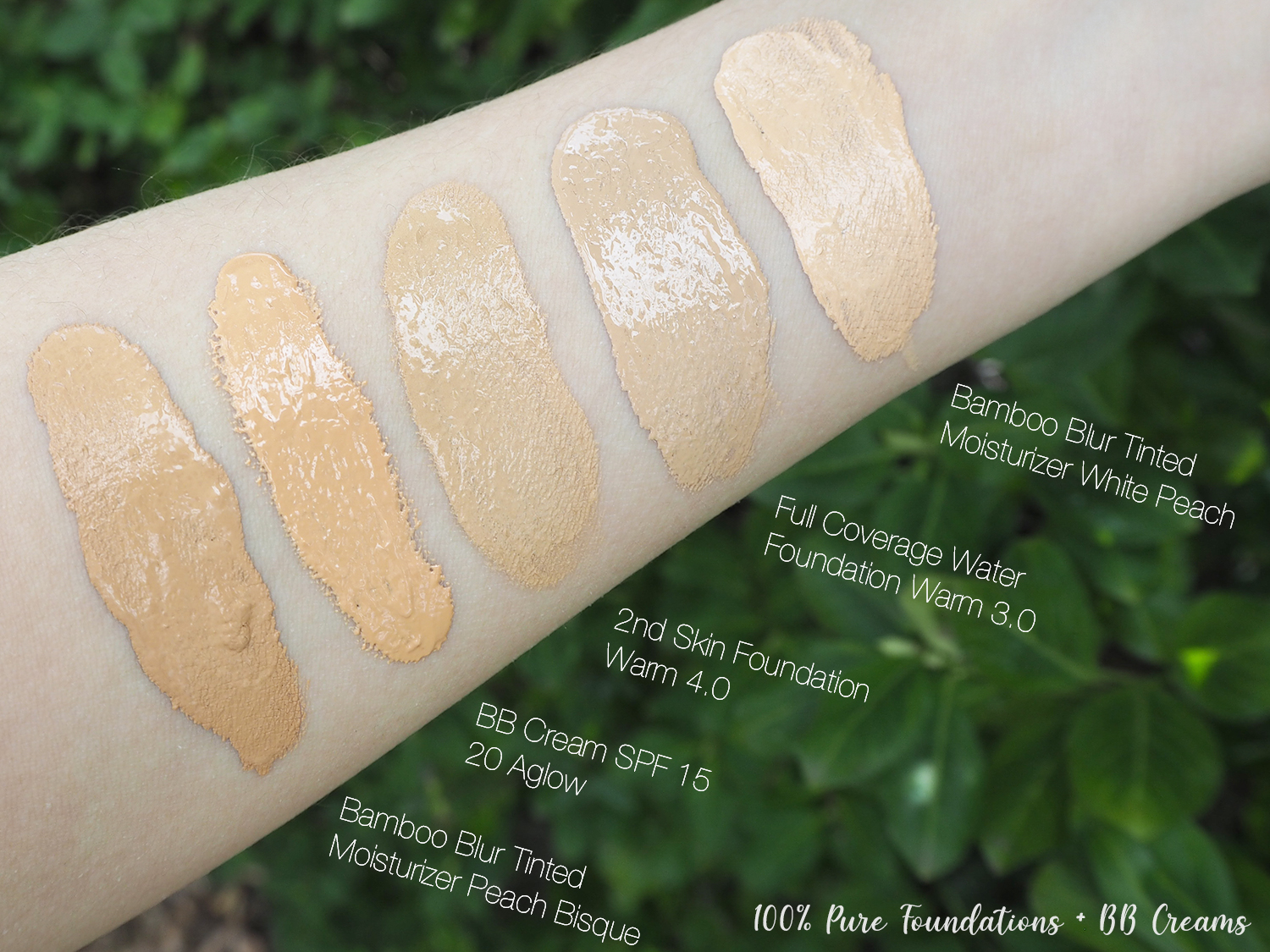 100% Pure Swatches Vergleich Foundations BB Creams