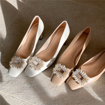 Wedding Shoes Crystal Pearl Buckle Pumps summer heels collection