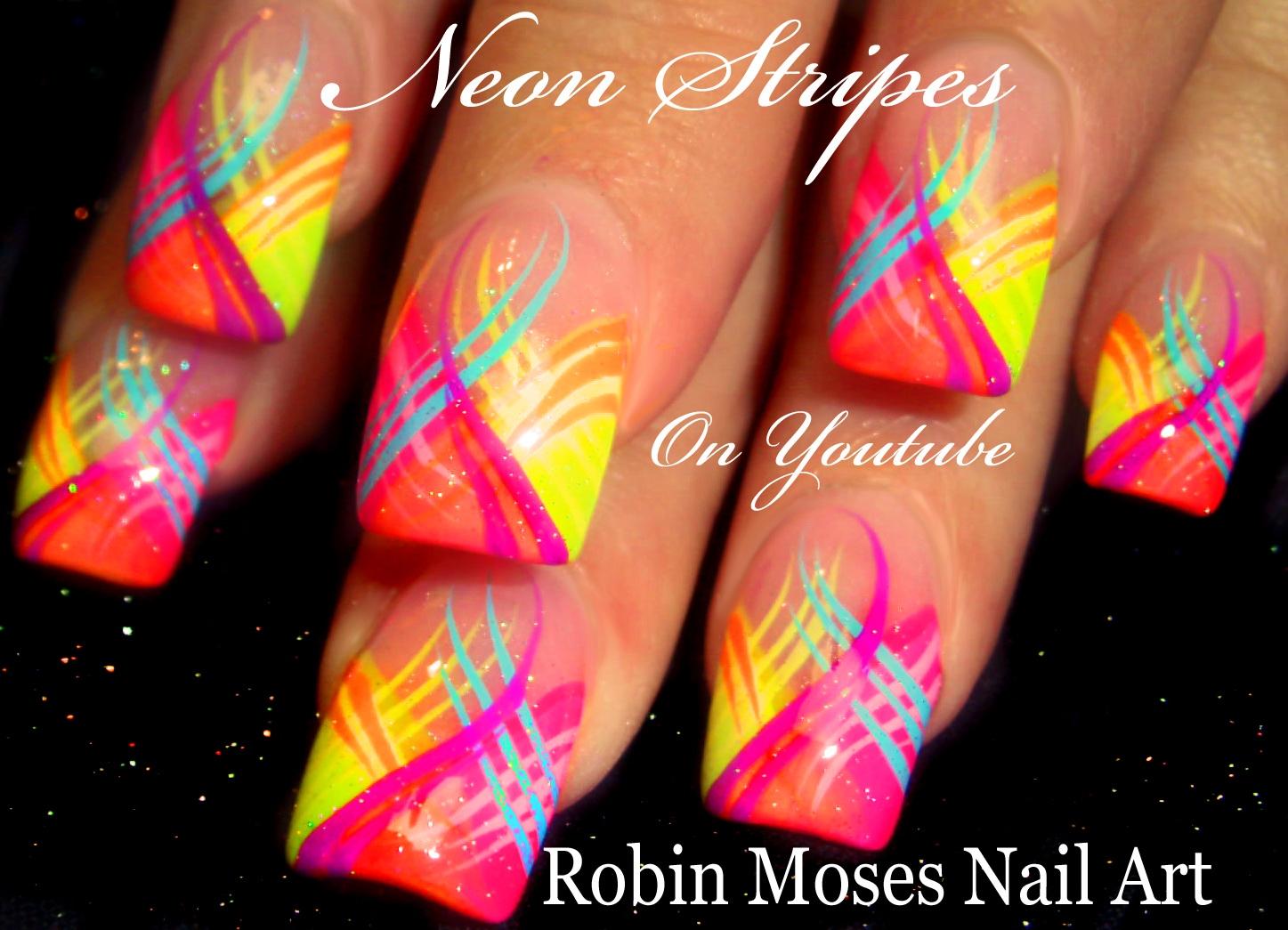 "Robin Moses Nail Art: Striped Chevron Tipped Nail Art ""how ..."