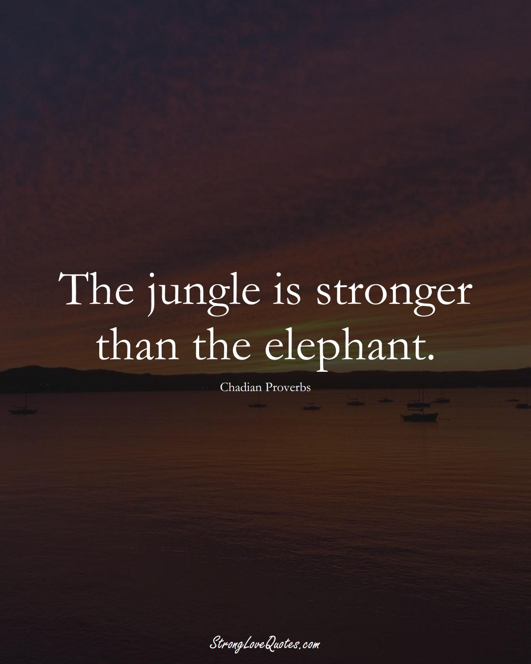 The jungle is stronger than the elephant. (Chadian Sayings);  #AfricanSayings
