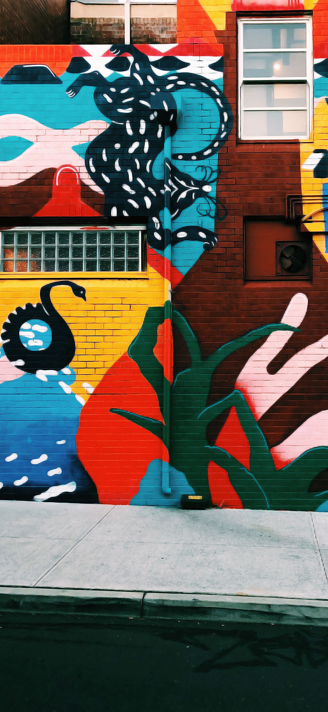 cool blue and red wall graffiti wallpaper