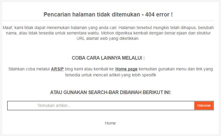 Contoh halaman error page 404 di blog