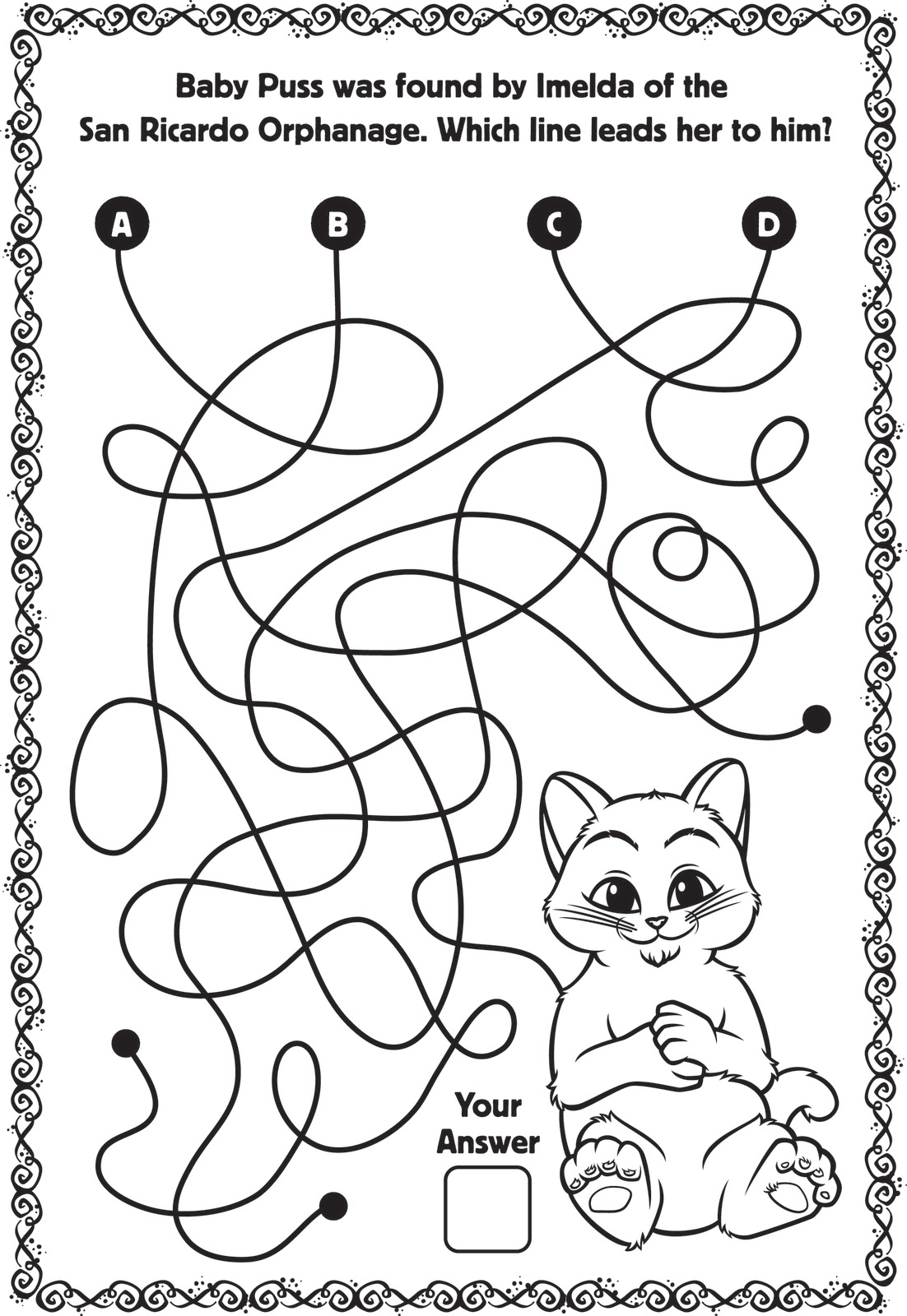 Here's some puss in boots activity sheets