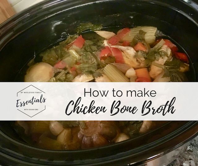 how to make chicken bone broth with essential oils - from www.mywholefoodfamily.com
