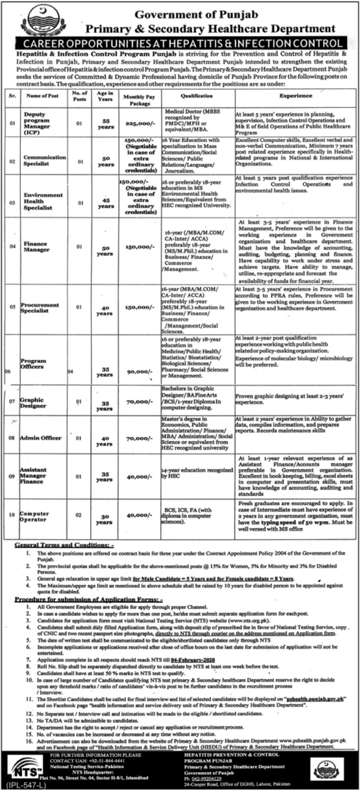 Jobs in Primary and Secondary Healthcare Department Govt of Punjab Latest 2020
