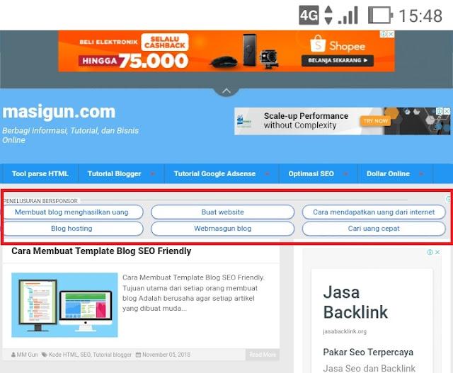 Cara Pasang Iklan Link di Blogger