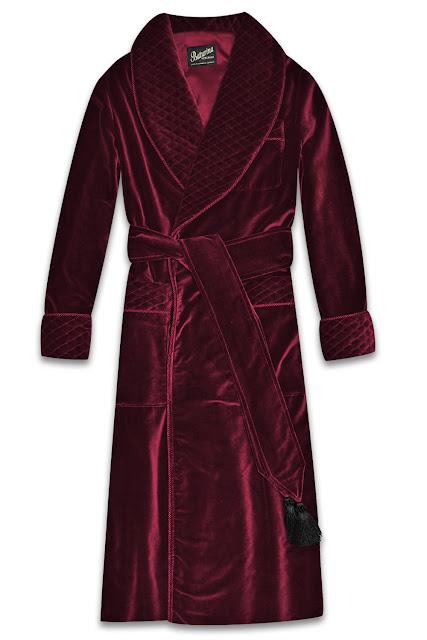Men's burgundy velvet dressing gown quilted smoking jacket robe cotton silk