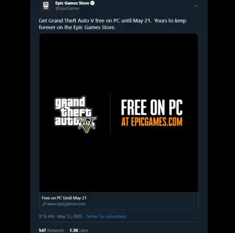 Δωρεάν το GtaV στην epic Games !!!