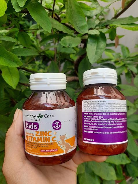 Viên nhai bổ sung Kẽm Vitamin C cho bé Healthy Care Kids Zinc + Vitamin C 60 viên