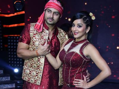 Photo: vikrant Singh with Monalisa of star plus Nach Baliye 8.