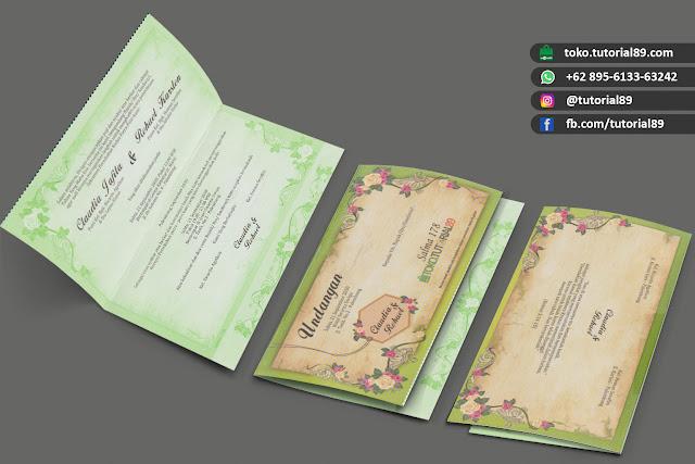 Undangan pernikahan 89.S178 - Seimpel Lipat 2 +free stiker label undangan