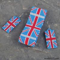 браслет и серьги из бисера британский флаг купить  цена