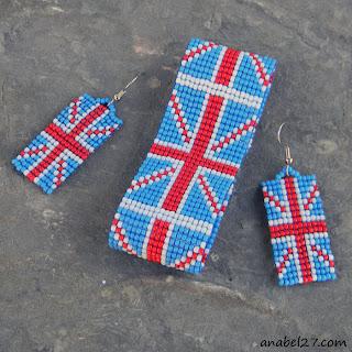 браслет и серьги из бисера британский флаг купить россия интернет магазин
