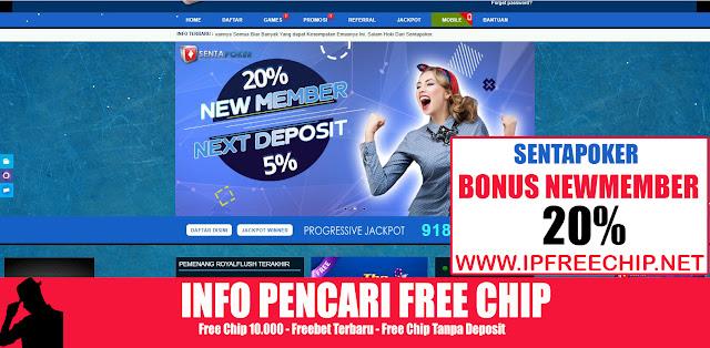 Bonus New Member 20% - SentaPoker