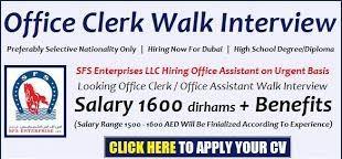 Office Clerk and Receptionist Job in Dubai