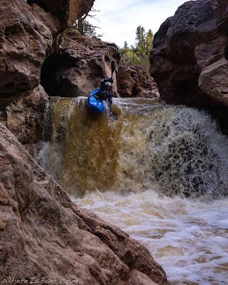 waterfall slot canyon arizona red rock kayak boof