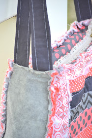 Lace Zipper with Side view of rag purse pattern by a vision to remember