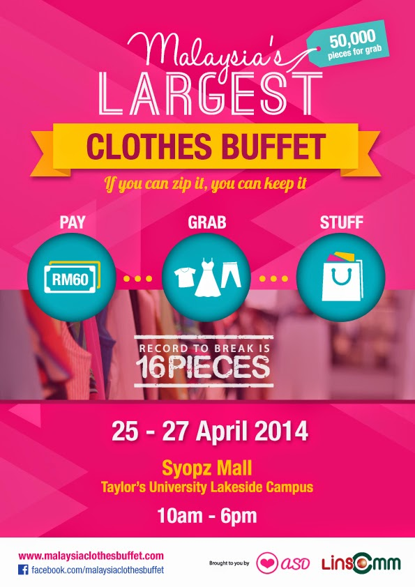 Promotional banner for Malaysia's Largest Clothes Buffet