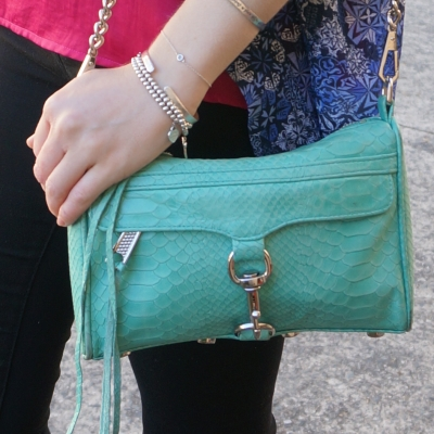 blue and pink outfit with Rebecca Minkoff mini MAC in aquamarine  | awayfromtheblue