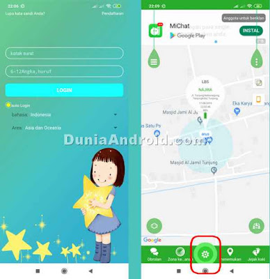 Menu pengaturan aplikasi SeTracker