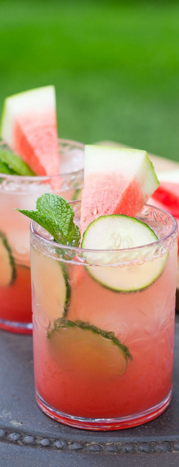 Watermelon & Cucumber Mojitos