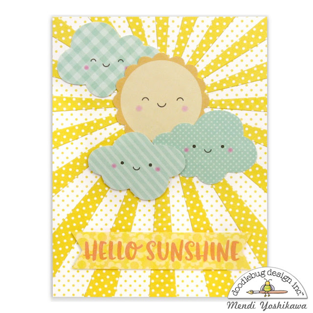 Doodlebug Design Easter Express Hello Sunshine Sun Ray Card by Mendi Yoshikawa