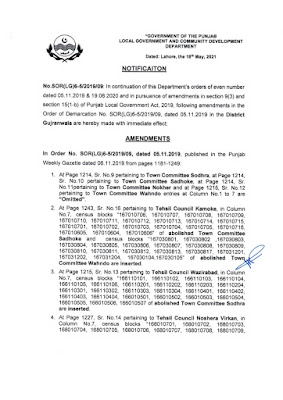 DEMARCATION OF TEHSIL COUNCILS AND ABOLISHED TOWN COMMITTEES OF DISTRICT GUJRANWALA