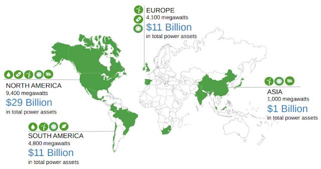 Världskarta som visar var bolagets kraftverk finns.