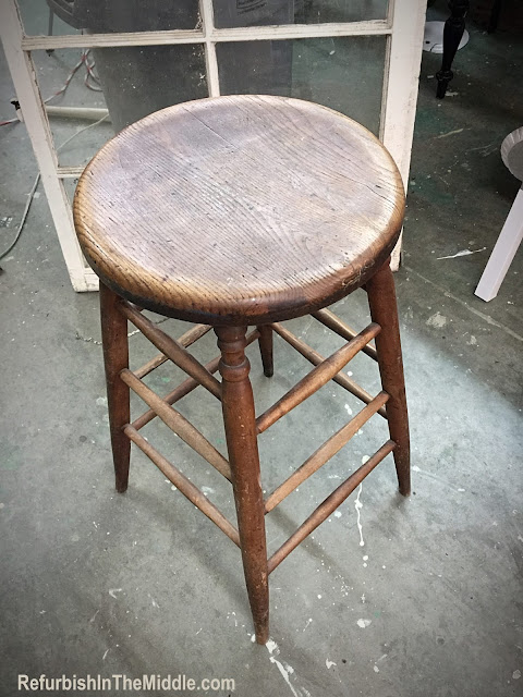 tall wood stool before paint