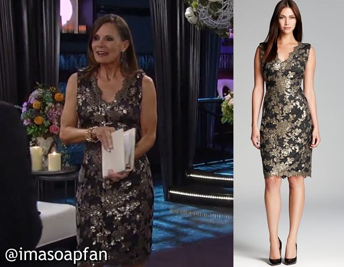 Lucy Coe S Metallic Lace Sheath Dress General Hospital Season 52 Episode 93 08 12 14