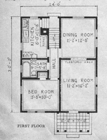 b&W image of Sears Lorain first-floor floorplan  1929 Sears Modern Homes catalog