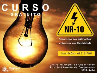 Prefeitura de Registro-SP está com inscrições abertas para Curso de Segurança em Instalações e Serviços em Eletricidade