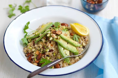 Toasted brown rice salad with spiced almonds and avocado