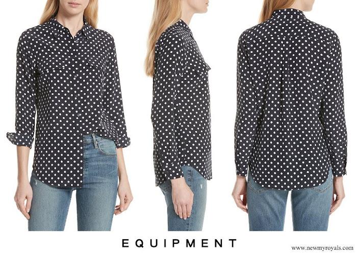 Kate Middleton wore EQUIPMENT Slim Signature Polka Dot Silk Shirt