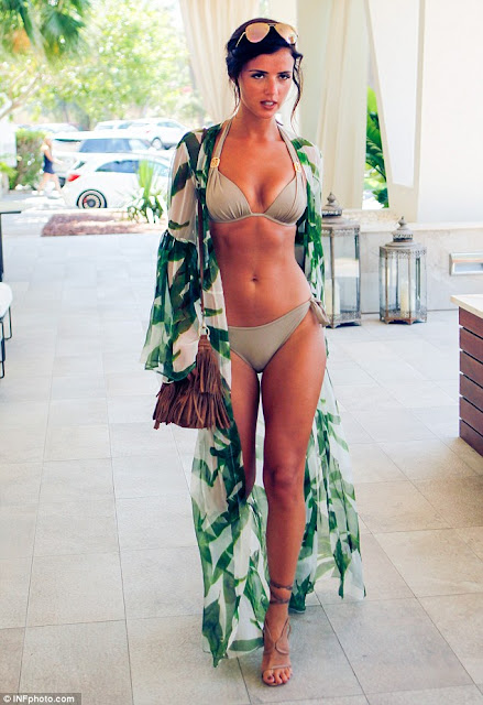 Lucy Mecklenburgh in Sporting a bold olive-green bikini