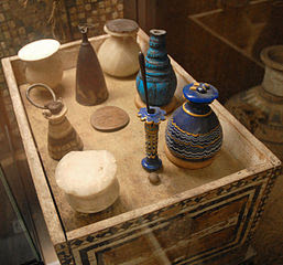 ancient Egyptian cosmetics jars and tools