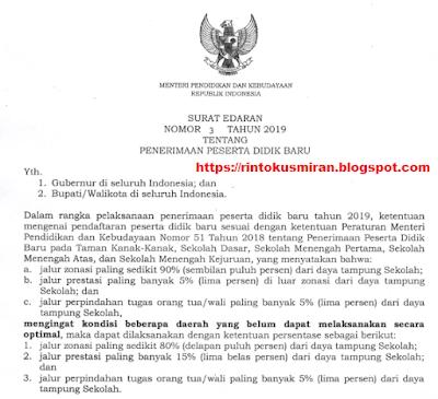 Surat edaran mendikbud nomor 3 tahun 2019 tentang Penerimaan peserta didik baru