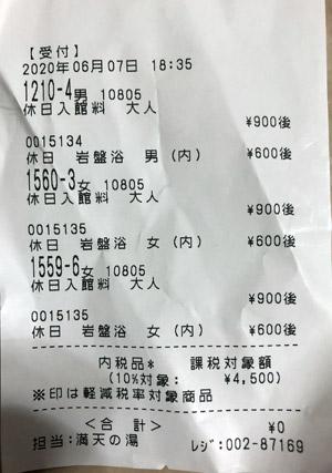手賀沼観光リゾート 天然温泉 満天の湯 2020/6/7 利用のレシート