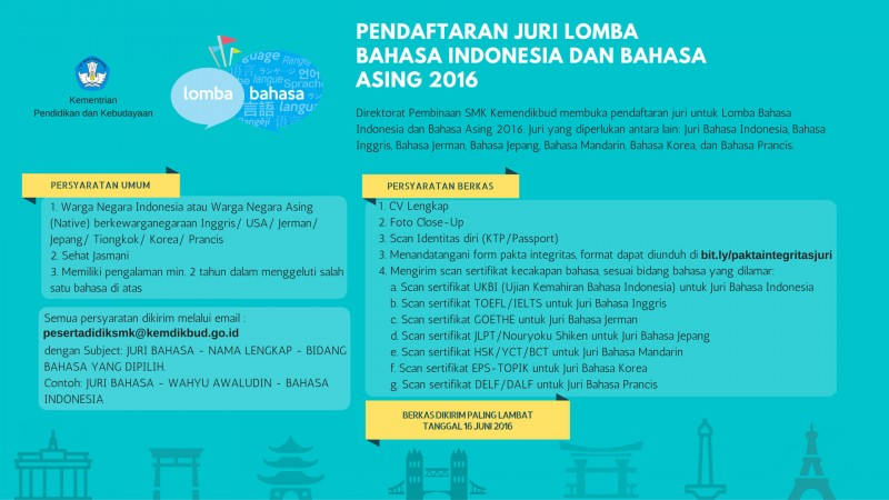 Pendaftaran Juri Lomba Bahasa Indonesia dan Bahasa Asing Tahun 2016