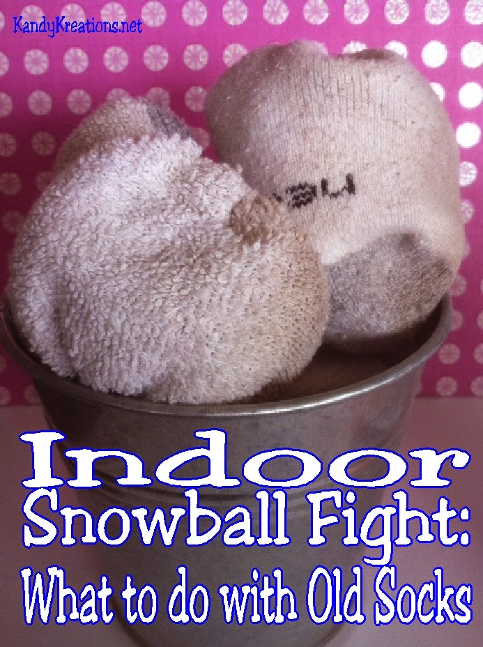Do you have lots of old, mismatched socks lying around the house? Are you cooped up inside during the cold, snowy, yucky winter? Have some fun using those old socks by making snowballs for an Indoor Snowball fight!