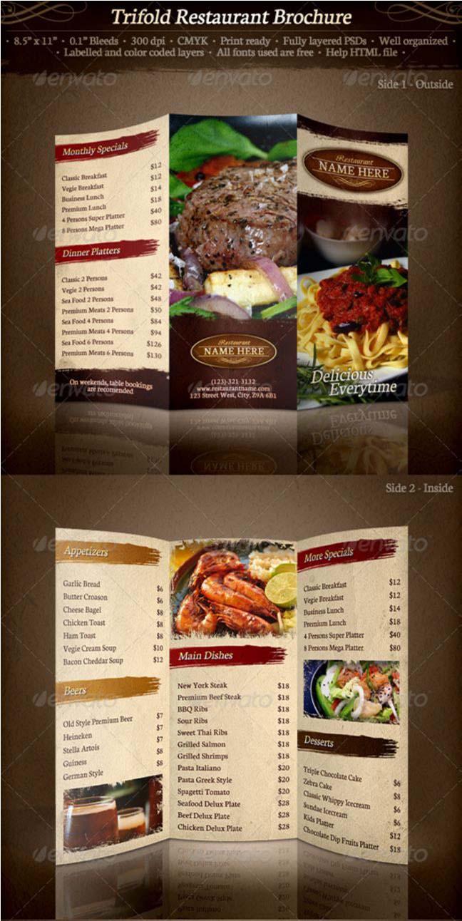 Restaurant Food Menu Templates InDesign PSD Designsmagorg - Restaurant brochure template