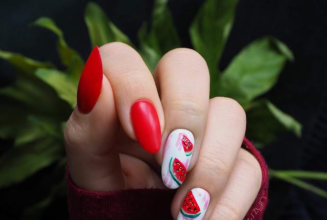 Jak namalować arbuza na paznokciach? |  Arbuzowe paznokcie krok po kroku
