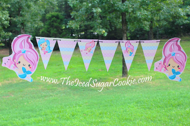 DIY Mermaid Birthday Party- Free Printable Mermaid Food Tent Cards -Cupcake Toppers -Banner Garland