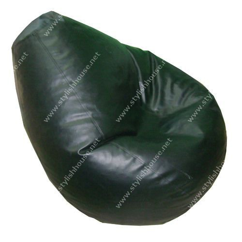 Black artificial leather bean bag seat
