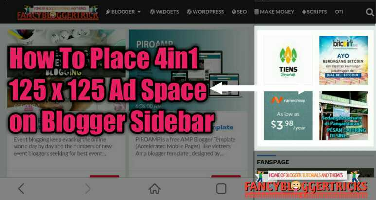 How To Place 4in1 125 x 125 Ad Space on Blogger Sidebar