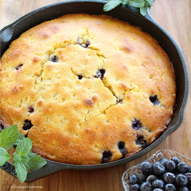Skillet Sweet Corn Blueberry Cornbread from LoveandConfections.com #FreshFromFlorida #IC (ad)