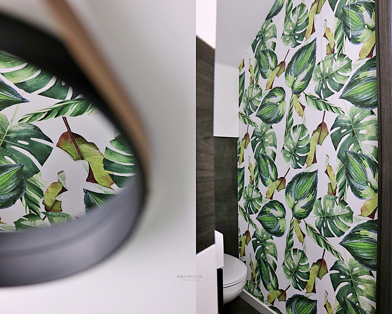 remont, metamorfozy, WC, DIY, zrób to sam, doityourself, babamadom, tapety, rośliny, baba ma dom, malowanie, featured,