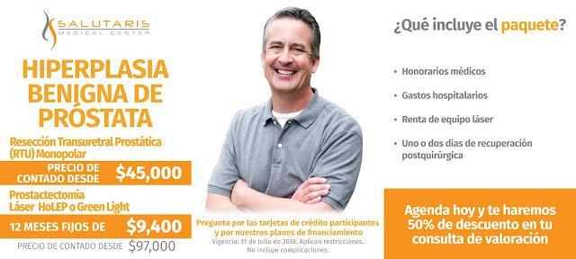 Paquete Cirugia Hiperplasia Benigna Prostata RTU Prostactectomia Guadalajara Mexico