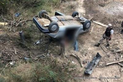 Tragédia em Condeúba: carro despenca de ponte na Zona Rural; motorista morre no local